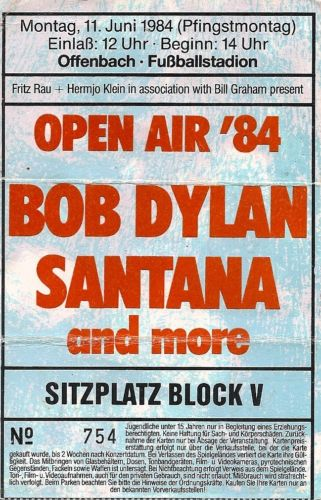 Bob Dylan Santana Concert Ticket 1984