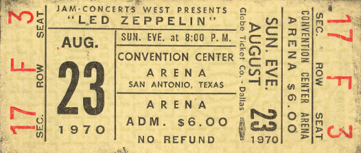 Ticket stub - Led Zeppelin Concert 2