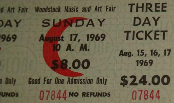 Ticket stub - WOODSTOCK  Concert 2 tranps