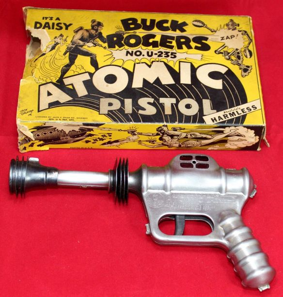 collectibles from the past    collectibles  antiques from the past Tin Wind Up toy   antique toys vintage toys toy collection Buck Rogers Daisy  Atomic Pistol  U-235 w Box - Vintage