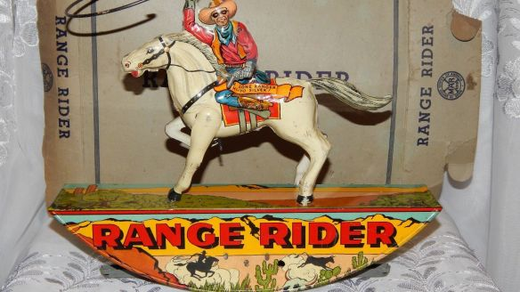 1938 Marx Hi Yo Lone Ranger collectibles from the past    collectibles  antiques from the past  antique toys vintage toys toy collection  Silver Tin Litho Toy Range Rider With Box 1