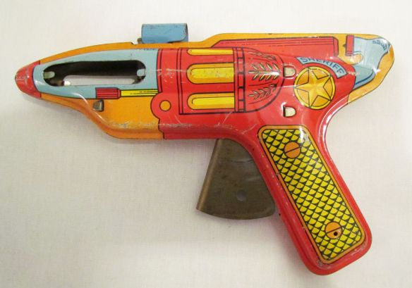 J. CHEIN 1950's TIN LITHO SHERIFF COWBOY RAYGUN RAY GUN SPACE TOY VINTAGE collectibles from the past    collectibles  antiques from the past  Marx Laughing Cows Whoopee Car   antique toys vintage toys toy collection